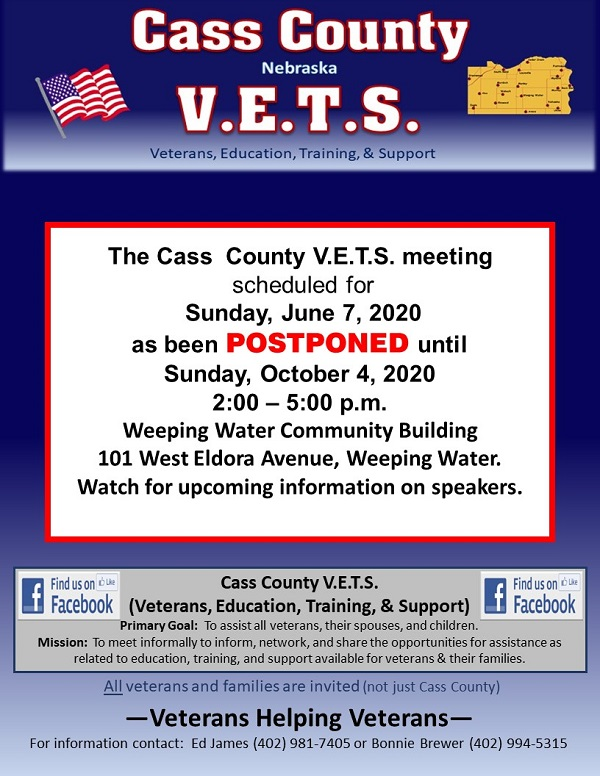 Cass County VETS June 7 2020 2
